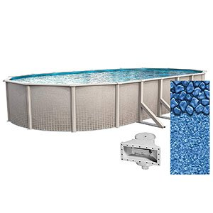 Lake Effect 12 Foot by 24 Foot Oval Impressions Above Ground Swimming Pool