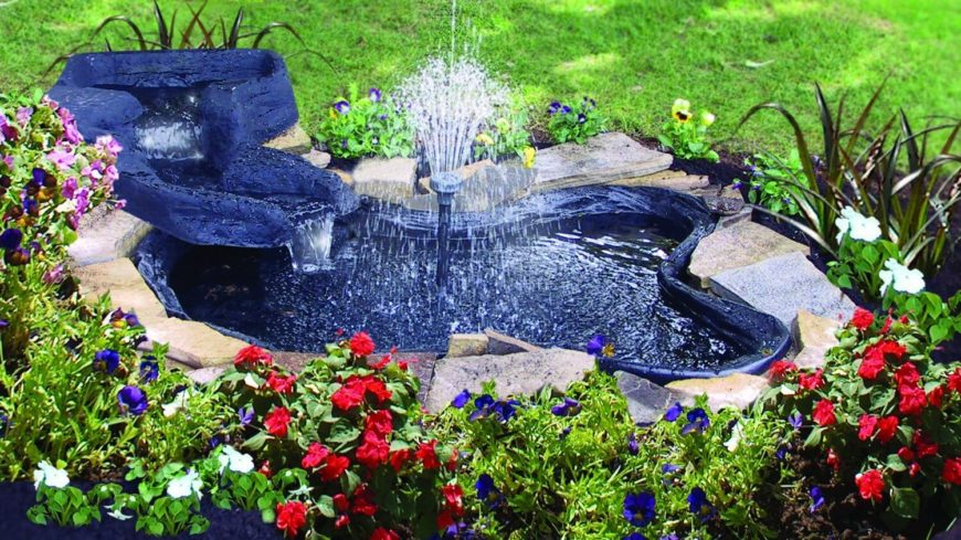 Garden Pond with Flower Beds