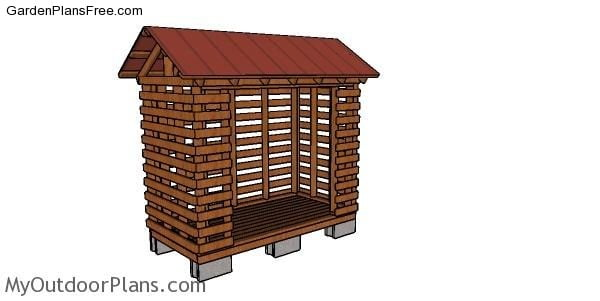 DIY Firewood Rack Shed made from 2x4s Plans