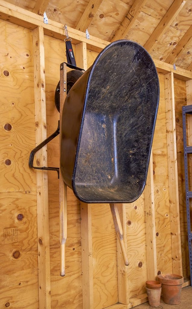 DIY Wooden Wheelbarrow Hanger