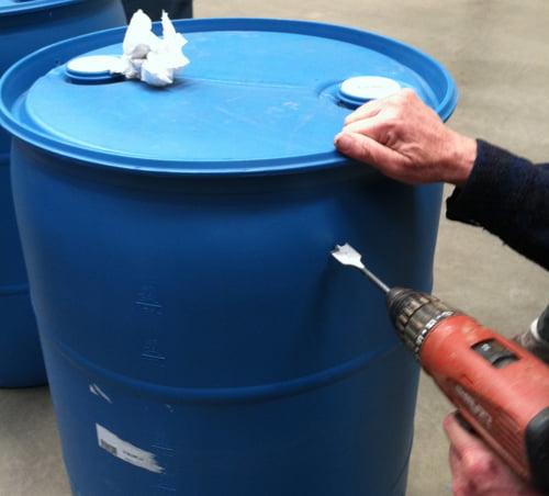 Drill the Hole in Rain Barrel