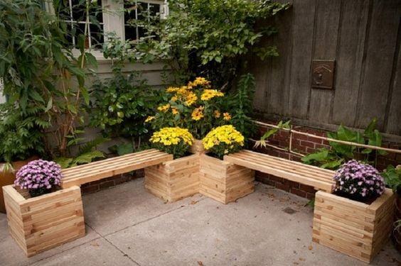 Garden Bench with Planter