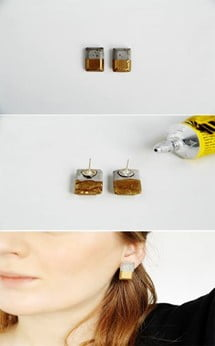Gold Dipped Concrete Earrings
