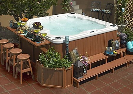 Hot Tub Deck with Private Bar Setting