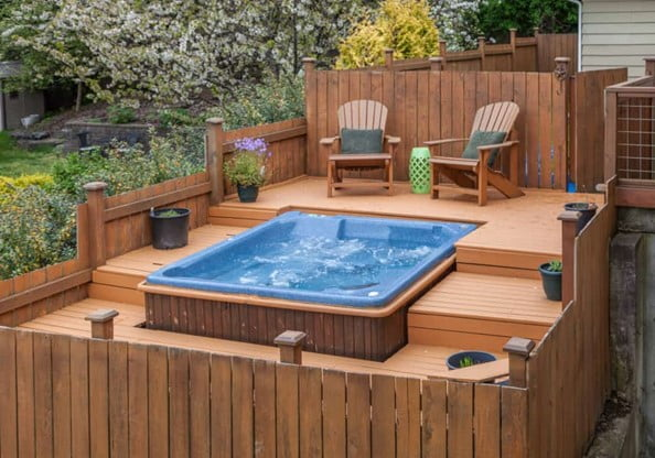 Hot Tub Decks with Spa Area