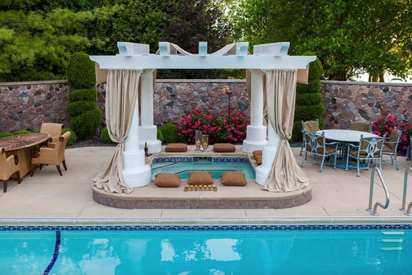 Poolside Hot Tub Deck Idea