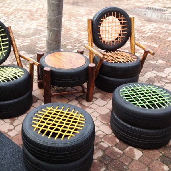Use of Old Tyres as Chairs