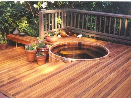 Wooden Hot Tub Deck Idea
