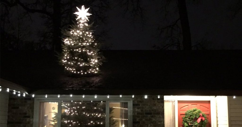 A Huge Christmas Tree Coming Out of Your Roof