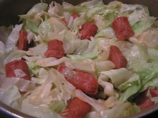Cabbage and Sauerkraut with Smoked Sausage