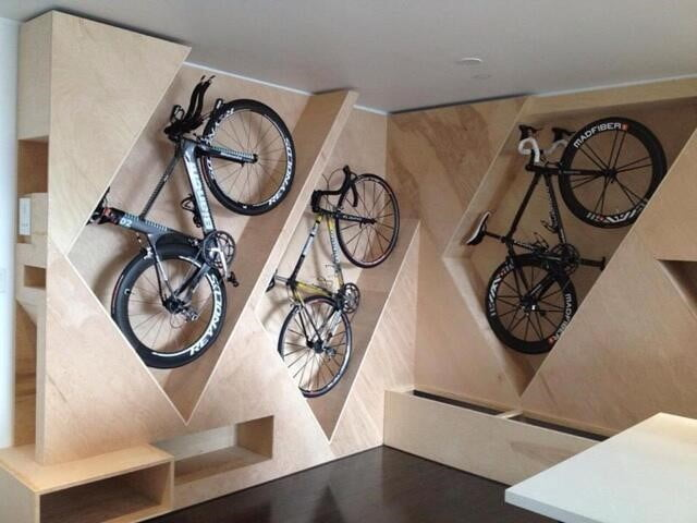 Carved Wooden Wall with Bike Storage Space