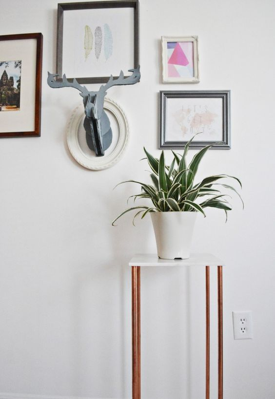 Copper and Marble Plant Stand