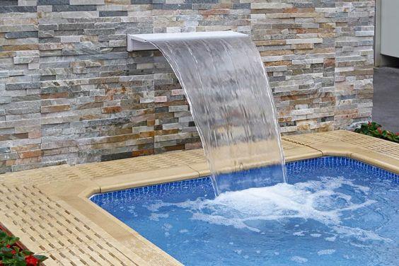 Waterfalls into the pool