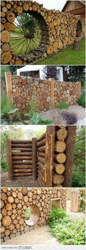 Wooden Log Fence and Gate