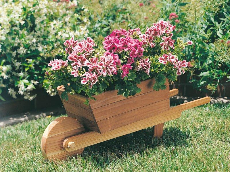 A Custom-Built Wheelbarrow with Pink Posies