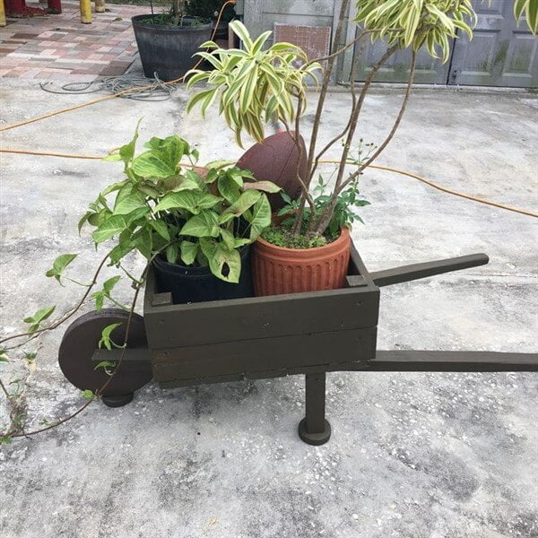 A Small Wooden Wheelbarrow with Plant Vases