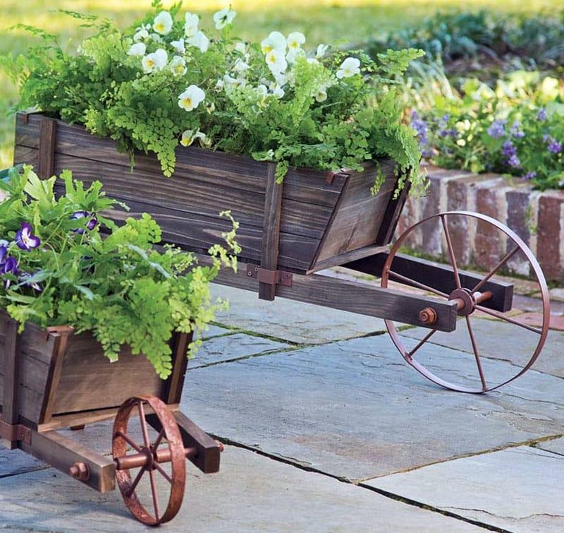 Old Wooden Wheelbarrow for A Patio