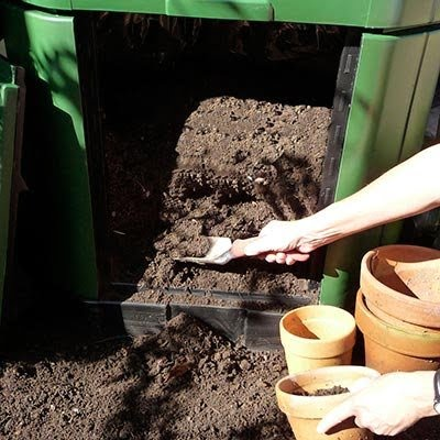 Taking out compost from Aerobin 400 Composter