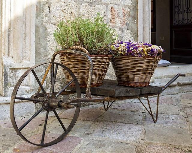 Wicker Baskets on A Wheelbarrow