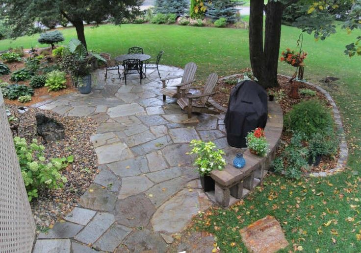 Flagstone Patio with A Forest Theme