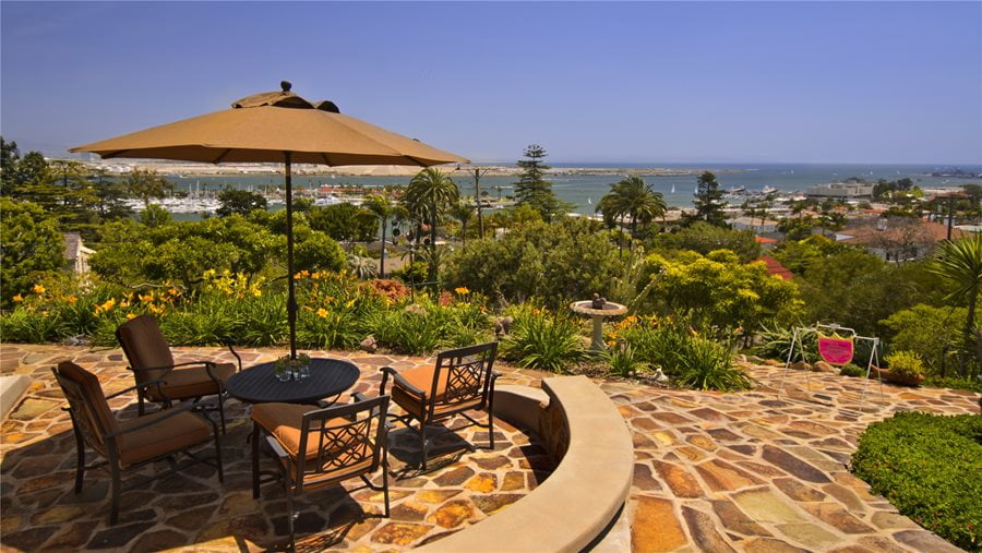 Flagstone Patio with Beach View