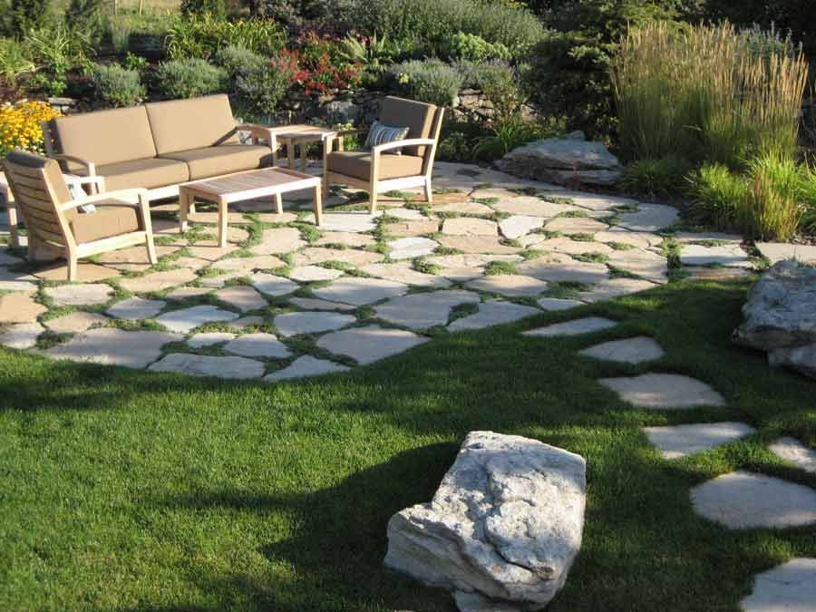 Flagstone Patio with Natural Grass
