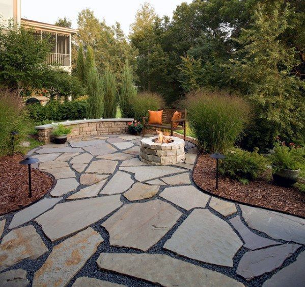 Flagstone Patio with Unique Shapes