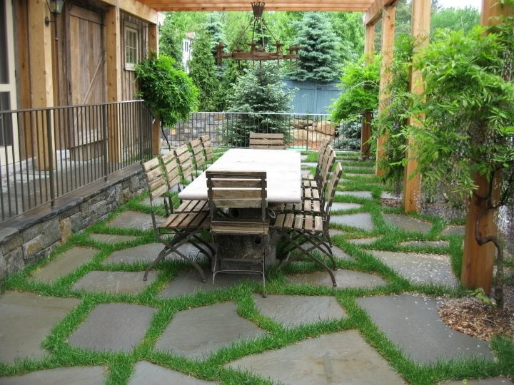 Flagstone Patio with Woodwork and Greenery