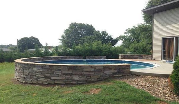 Wood-Stone Wrapped Pool
