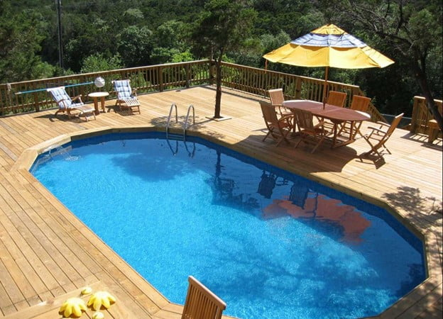 An Enclosed Pool with A Deck