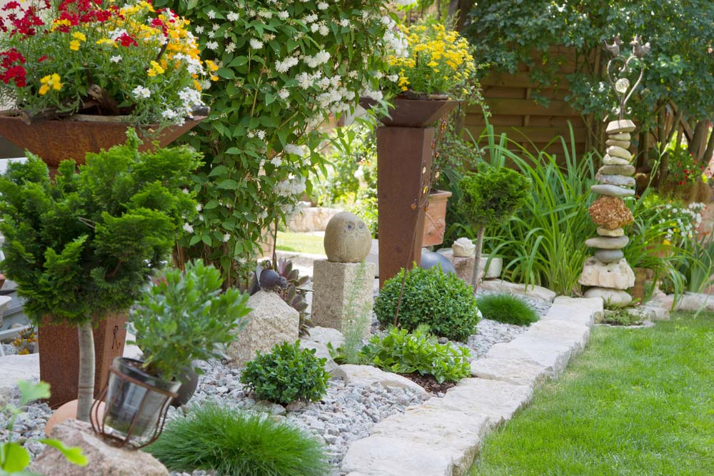 Container Garden with Rock Sculptures