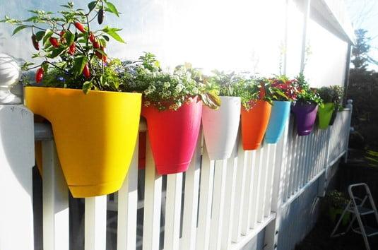 Flowerpots on Fence Tips
