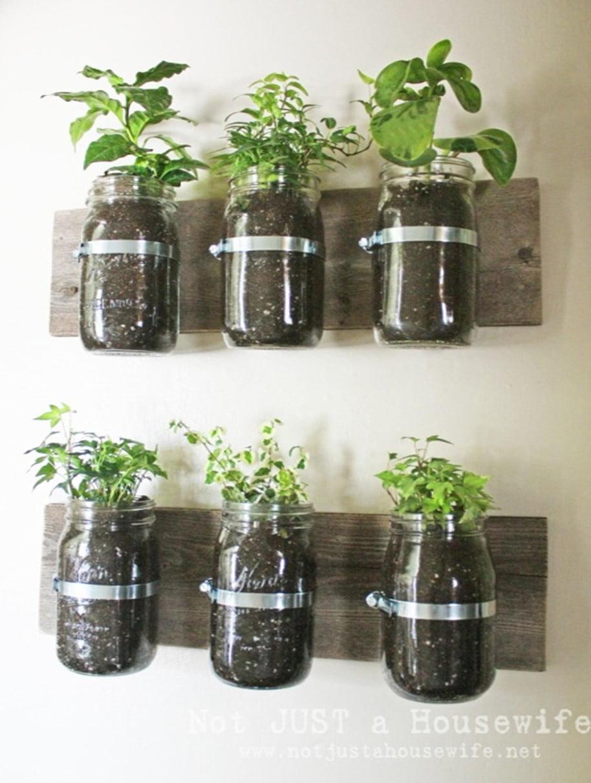 Jar Bottle Fence Planter Idea