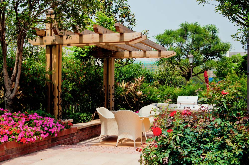 Lush Garden with Wooden Pergola