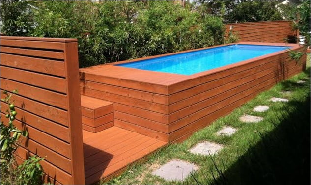 Rectangular Plastic & Wood Pool