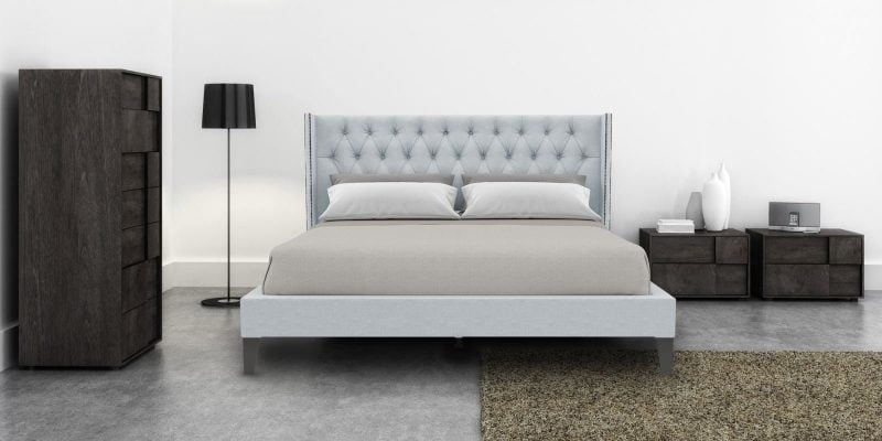 Upholstered bed in light grey colour_Dreamzz furniture