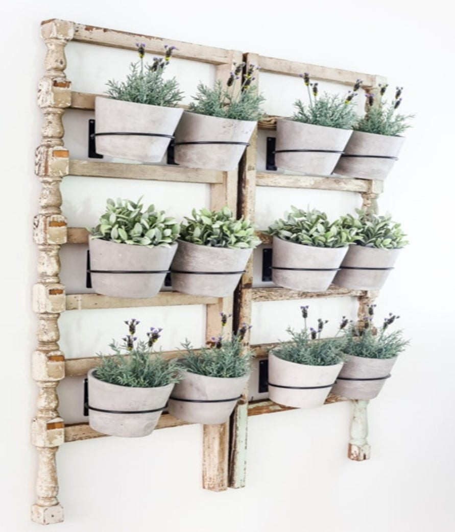 Wooden Pile Fence Planter Style