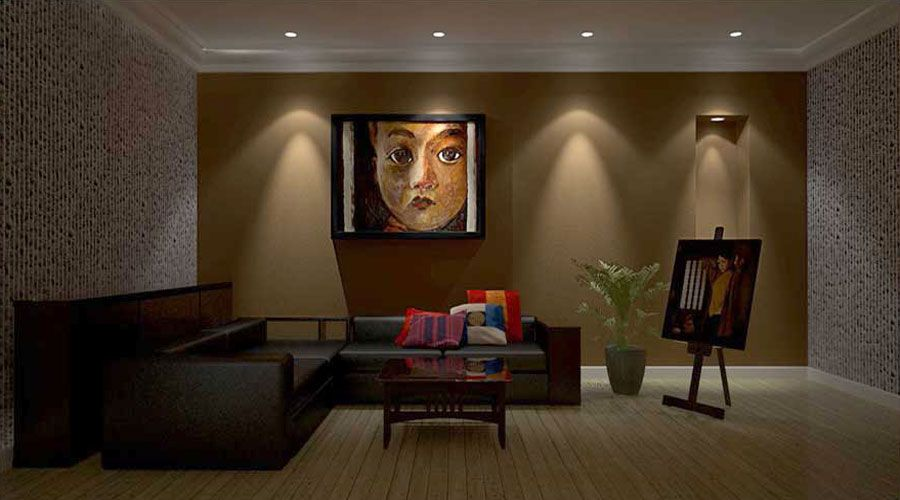 This would be an example of accent lighting because of it brings attention to the painting   Interior lighting, Interior rendering, Interior