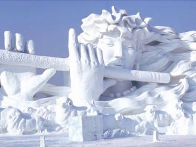 A snow sculpture at the ice festival