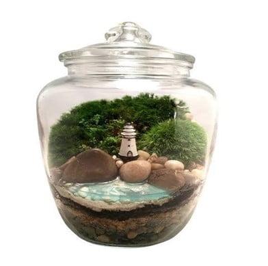 Beach Lighthouse Glass Globe Terrarium