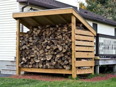 rick of firewood storage
