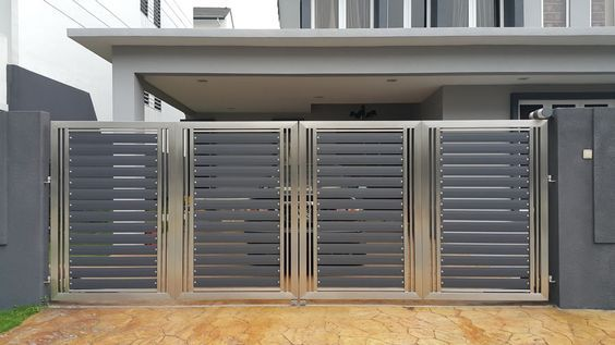 Modern Exterior Along with Plate Steel Gate