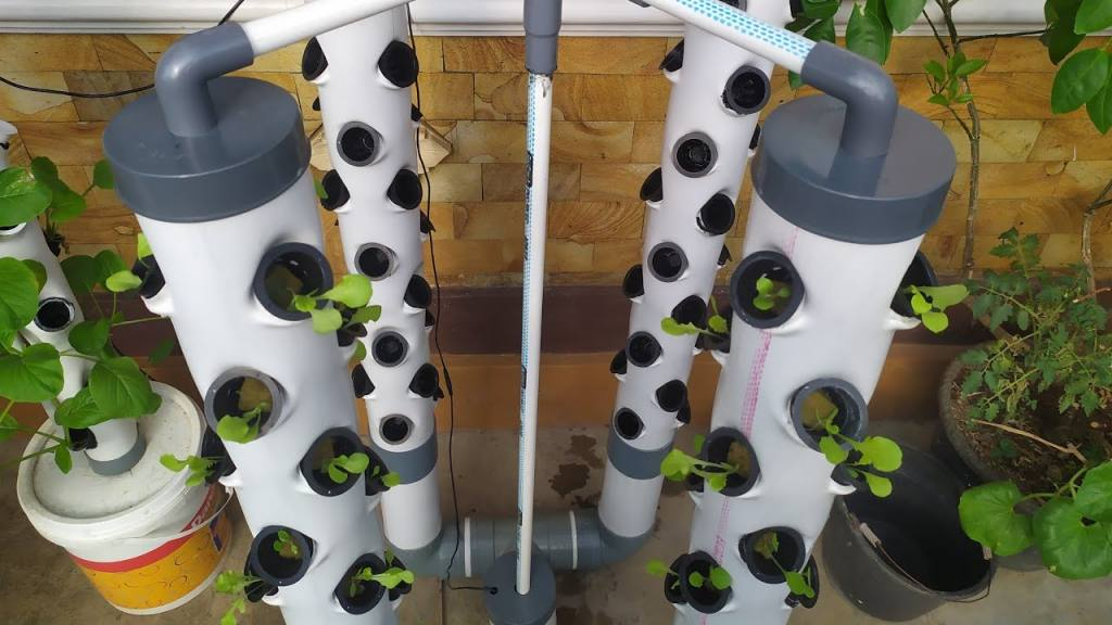 Vertical Hydroponic PVC Tower