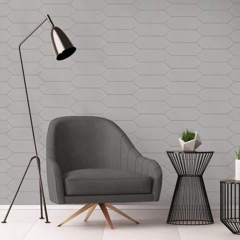 MTO0456 Modern 4X12 Large Diamond Gray Subway Glossy Porcelain Tile